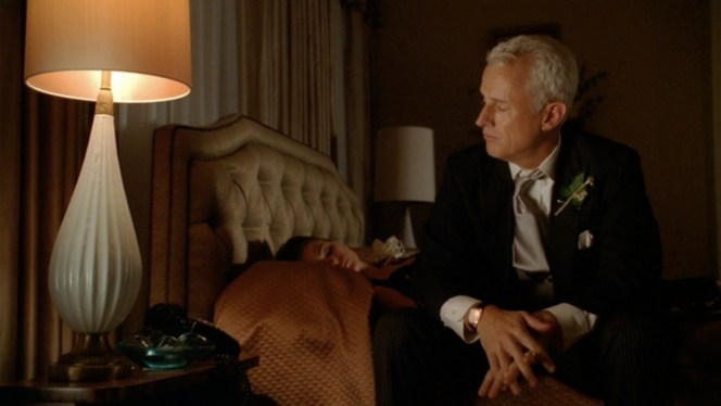 Late night soul searching with Roger Sterling.