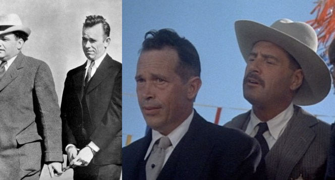 Dillinger under arrest in January 1934 according to history (left) and Warren Oates (right).