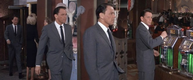Last week, I focused on George Clooney's slick casino entrance as Danny in the 2001 Ocean's Eleven. In 1960, Sinatra showed that sometimes there's not much cooler than just an understated but direct walk from door to slots.