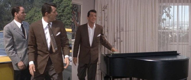A jacket like this can be worn dressier with a tie or more casually without a tie. Also note that Dean Martin has a piano in his hotel room, mostly used for serenading a set of awestruck maids.