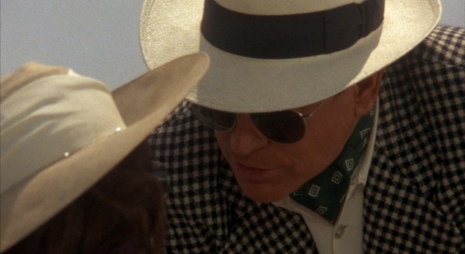Bugsy sports an ascot in the hot Mojave Desert.