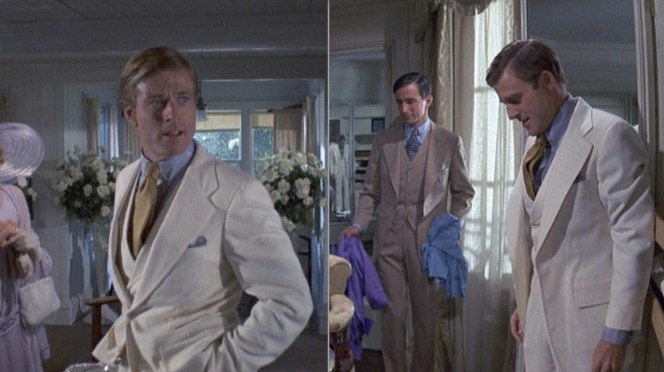 Gatsby with his jacket closed (left) and open (right). Note that, on the right, his reflection can be seen in the mirror next to Nick.