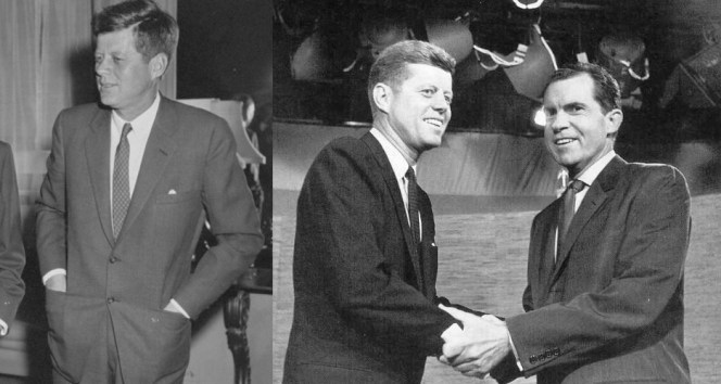 Kennedy's suit jackets in 1960: all cleanly cut with single-breasted 2-button fronts, notch lapels, breast pockets, and jetted hip pockets.