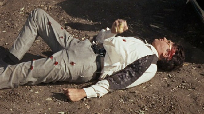 The device used to create the effects of gunshots on Beatty's body can be seen on his waistband.