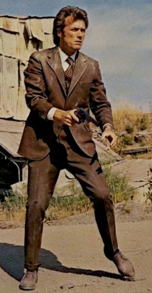 Clint Eastwood in the climactic scene of Dirty Harry.