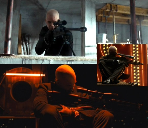 (Top) 47 aims at Mikhail Belicoff with his Blaser. (Bottom) 47 with his Walther WA 2000 in Moscow. This shot is a direct reference to the inset shot, promotional art for Hitman: Blood Money.
