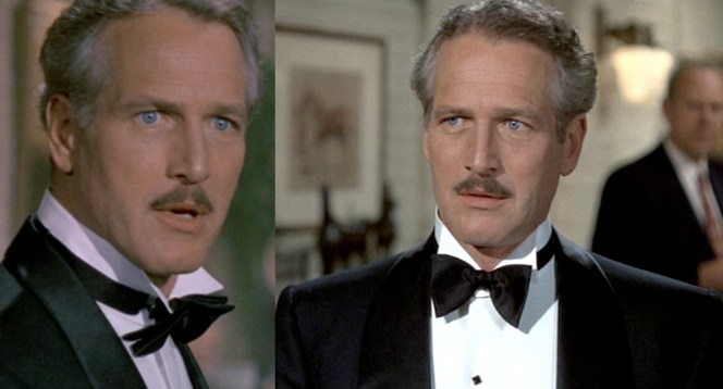 Audiences were likely too distracted by the greatness of Newman's William Powell-esque mustache to care about his bowtie.