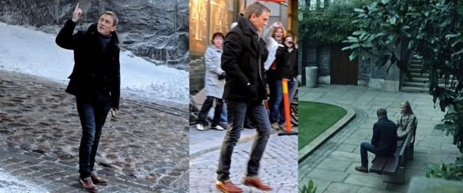 Production photos of Daniel Craig on set.