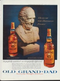 A 1960 ad for Old Granddad bourbon whiskey.