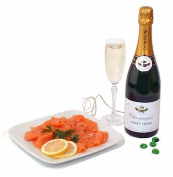 Smoked salmon and champagne, a favorite lunch of James Bond.