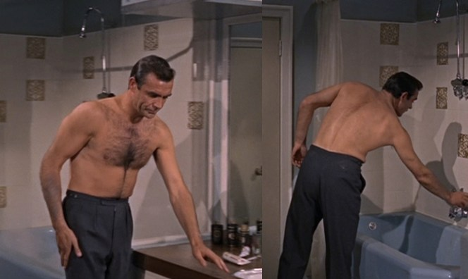 Connery doesn't wear an undershirt, but with that sweater who would need to? Any idea what brand his bath products and toothpaste are?