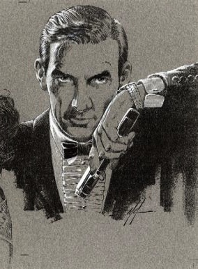 Mike Grell's illustration of James Bond in formal attire from his 1988 strip, Permission to Die. Grell clearly used Fleming's narrative as a basis for Bond's likeness.