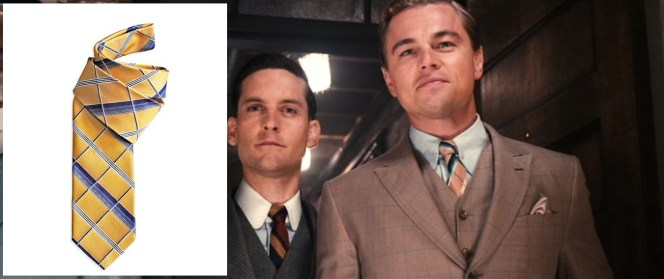 The gold tie isn't an exact match for the salmon one worn by Gatsby in the film, but it's certainly a nice alternative.