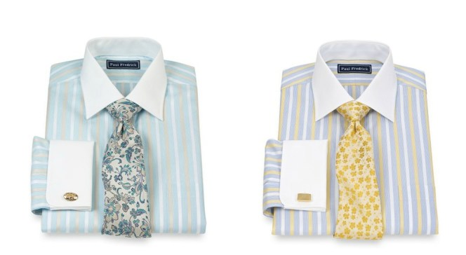 For formal events on game day, fans of the Miami Dolphins could wear the aqua and tan striped shirt while Rams fans could support their team in the blue and yellow shirt.