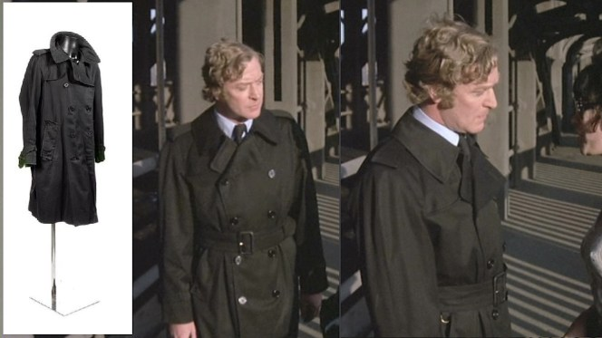 Caine's raincoat in action and (inset) at Bonham's forty years later.