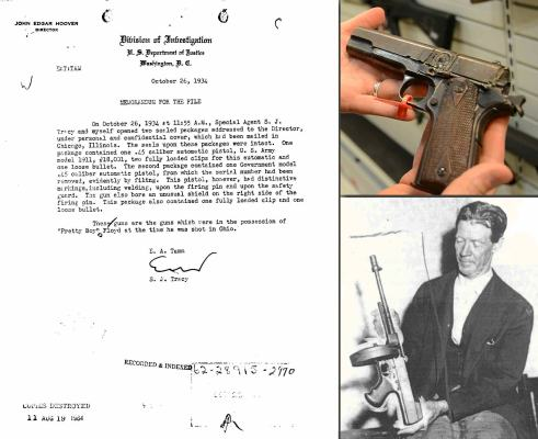 An internal FBI memo regarding Floyd's twin Colt 1911s, and one of the 1911s themselves on display (upper right). A contemporary photo shows Deputy Irwin holding Floyd's discarded Thompson.