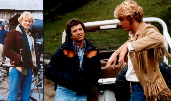 "Behind the scenes on Dukes. Schneider bundles up between takes of ""Mary Kaye's Baby"" (Episode 1.03) (left), and both Wopat and Schneider don jackets during the production of one of the show's later installments."