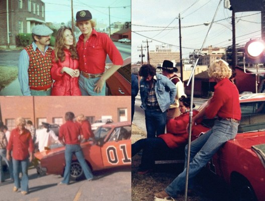 "Behind-the-scenes shots from the filming of ""Daisy's Song"" (Episode 1.02) in Atlanta. Note the various red-shirted stuntmen around the General Lee (lower left), the black baseball cap Schneider wore off-screen (upper left), and the fact that Wopat wore Luke's denim jacket between takes, likely to stay warm as the temperatures dipped (right)."