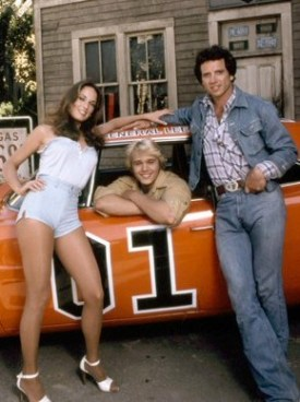 Catherine Bach, John Schneider, and Tom Wopat on the Dukes set in California, 1979.