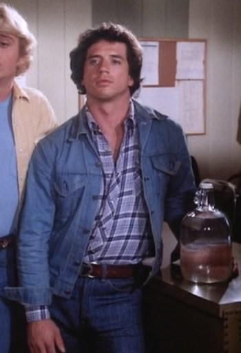 """Tom Wopat as Luke Dukes in """"High Octane"""", Episode 1.05 of The Dukes of Hazzard."""