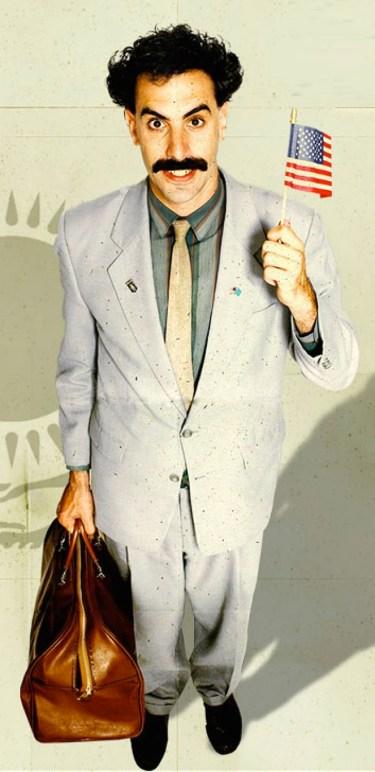 Sacha Baron Cohen as Borat (2006).