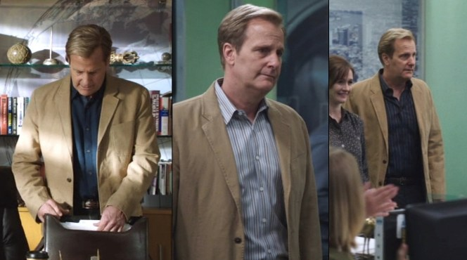 Will shows off three different looks with his tan cotton sport coat and brown jeans.