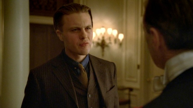 """Jimmy faces off with Nucky after learning the truth about his conception in """"A Return to Normalcy"""" (1.12)."""