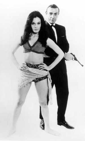 A promotional photo of Sean Connery with Martine Beswick, who played Zora in this flick and later went on to play the much tanner Paula in Thunderball.
