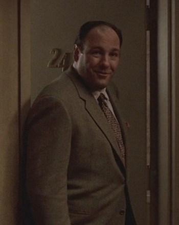 "James Gandolfini as Tony Soprano in ""The Happy Wanderer"", Episode 2.06 of The Sopranos (2000)."