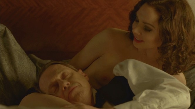 "Nucky nicely compliments his new mistress Billie Kent's thighs as ""the only place I can truly rest my head."""