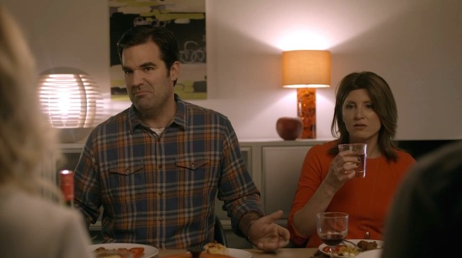 Rob wears plaid for Chris and Fran's dinner party in the first episode.