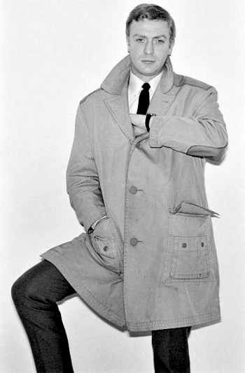 Evidently, the coat belonged to Michael Caine in real life if this image from a photo shoot circa 1964-1965 is any indication.