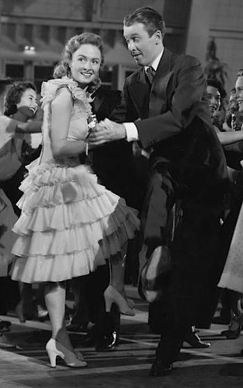 Donna Reed and James Stewart dance the Charleston as Mary Hatch and George Bailey in It's a Wonderful Life (1946).