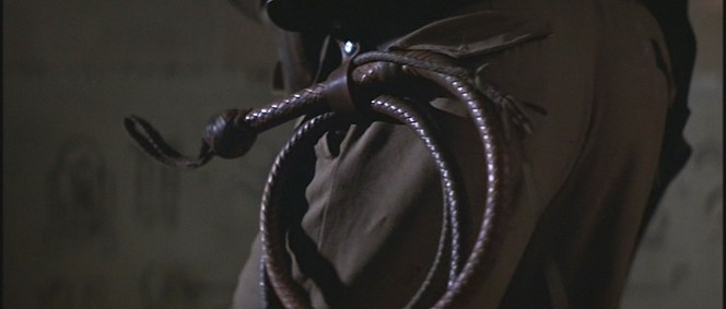 Indy's bullwhip secured to his gun belt, as seen in Raiders of the Lost Ark.