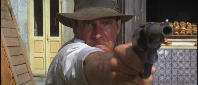 Indy disables a truck driver in Cairo with a single shot from his Smith & Wesson Mk II Hand Ejector.