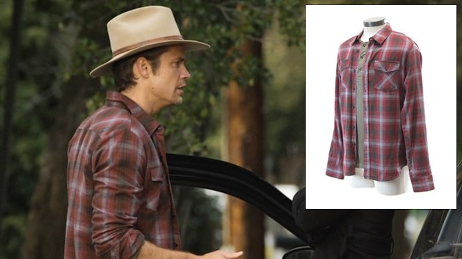 """Raylan's red-and-gray plaid flannel shirt as auctioned by ScreenBid (inset) exactly matches the one he wore in """"Bloody Harlan"""" (Episode 2.13)."""