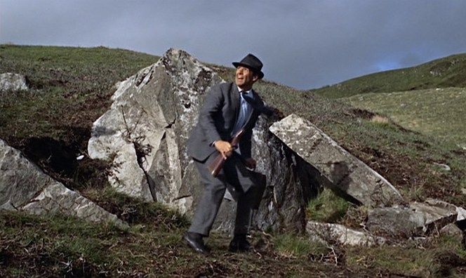 Whether it's a cropduster in Indiana or a helicopter on the Scottish cliffs, you always want to be wearing the right gray suit to outrun the aircraft that's chasing you.