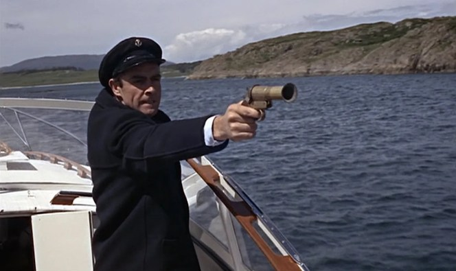 Part of me wishes Bond would have been armed with a blunderbuss here, just to fit the whole theme of him pirating a boat. At least that old WWI-era flare pistol has a few cosmetic similarities.