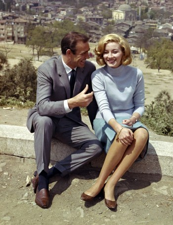 Sean Connery and Daniela Bianchi on location in Istanbul. Note Connery's brown loafers and blue socks, evidently the actor's personal preference when not wearing Bond's black bluchers.