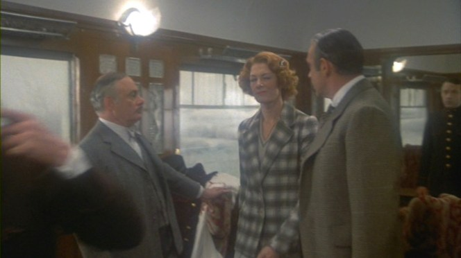 Mary Debenham offers Colonel Arbuthnot a covert wink as she follows Poirot into his makeshift interrogation room. Damn, Vanessa Redgrave is cool.