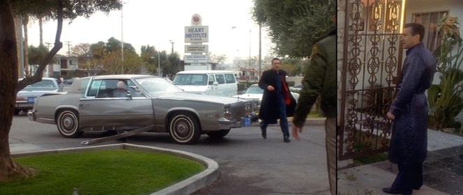 Ace's footwear is best seen in times of great duress. Also, check out Don Rickles as Billy Sherbert getting out of Ace's torn-up '81 Caddy.