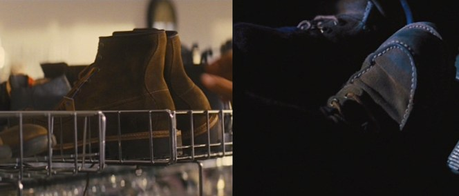 Reacher picks out his boots... and makes good use of them during the climactic car chase.