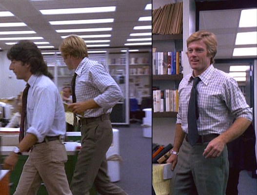 Woodward and Bernstein are all smiles when they pop into Ben Bradlee's office.
