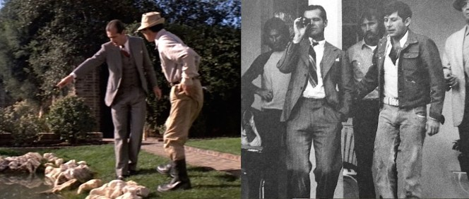 A behind-the-scenes photo (right) shows Jack Nicholson and director Roman Polanski on the set of the Mulwray house, where Gittes found a vital clue on screen (left).