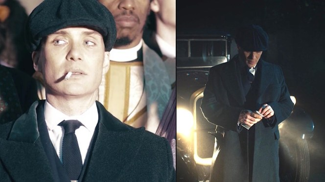 Tommy looks like a deer in the headlights during the official wedding photo (left) and literally stands in front of the headlights later that night (right).