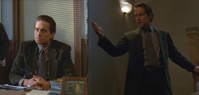 While looking restrained under questioning (left), Michael Douglas appears to be offering a forceful aria during a day at the office (right).