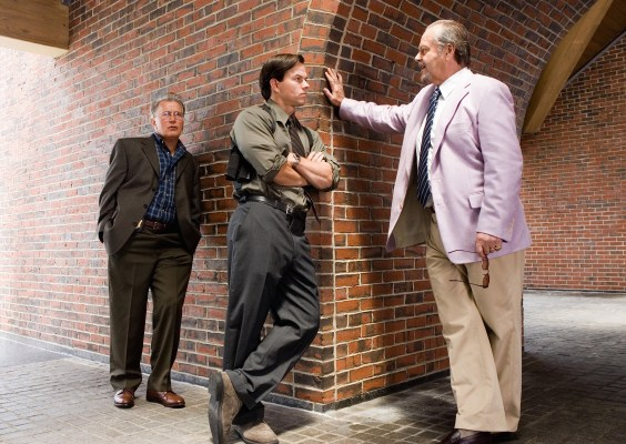 A production photo of Martin Sheen, Mark Wahlberg, and Jack Nicholson shooting the shit on set.