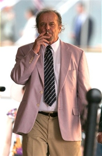 Jack being Jack. On set in Boston, 2005. Note that the photographed jacket looks pinker than the lavender garment of the finished film.