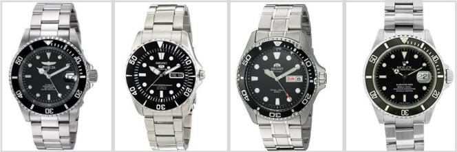 Four dive watches, left to right: Invicta, Seiko, Orient, and the mighty Rolex.