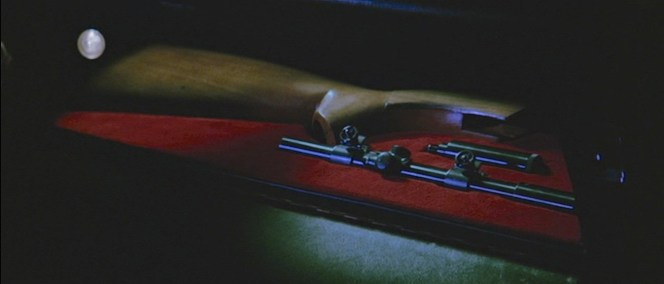The parts of Bond's AR-7 survival rifle in a concealed compartment in his DBS. Not the last prop that would return from From Russia With Love...